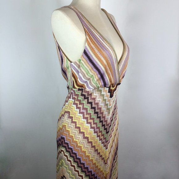 Missoni Orange Label V-Neck Zigzag Knit Dress